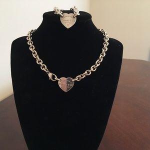 """Tiffany & Co """"PRTT Heart Tag Necklace/Bracelet Set"""